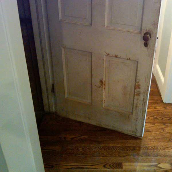 scratched old door